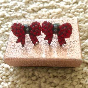 Red bow tie earrings